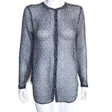 LUCKY BRAND Sheer Aztec Geometric Blouse Top Long Sleeve Blue Women's size Small