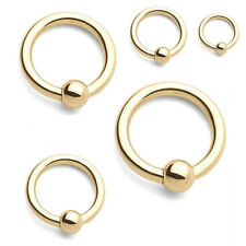 GOLD PLATED 14CT BCR BALL CLOSURE RING CBR NOSE EAR EYEBROW LIP RINGS  1MM - 2MM