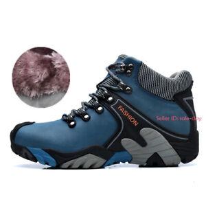 Men Women Outdoor Warm Fleece Lined Boots Waterproof Hiking Climbing Work Shoes