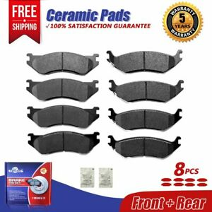2006-2010 Dodge Ram 1500 2007-2009 Dodge Durango 2011-2018 Ram 1500 SCITOO Ceramic Front Rear Disc Brake Pad Set fit for 2010 Dodge Dakota