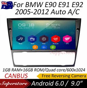 Android 9.1 Quad Core GPS Car NON DVD player For BMW E90 E91 E92 Auto A/C