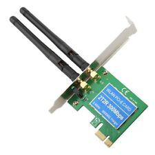 300Mbps Wireless 11N WiFi PCI-E Network Adapter LAN Card + Antennas Desktop PC