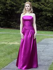 Purple shiny satin wedding bridesmaid evening prom party dress LACE UP BACK