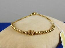 Michael Kors Goldtone Stainless PAVE' HEART Beaded Crystal Ball Slider Bracelet