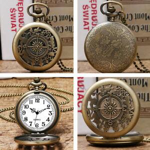 Mens Quartz Pocket Watch Compass Case Necklace Chain White Arabic Numerals Dial