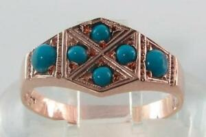 LOVELY 9K ROSE PINK GOLD ART DECO PERSIAN TURQUOISE HEXAGON RING FREE RESIZE