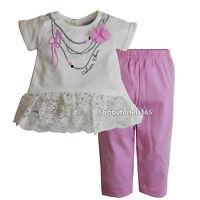 New Calvin Klein Baby Girls 2 pc set Shirt & legging outfit Size 3 6 9 months