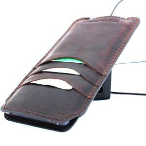 Genuine Dark Leather Case for Galaxy Note 9 Slim Wallet Cover Cards Holder Davis