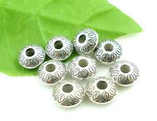 60PCs Tibet Silver Tone Flat Spacers Beads Fit European Charm Bracelet 14x6mm