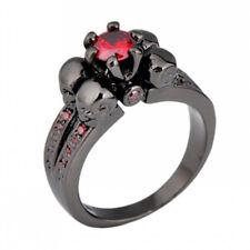 Punk 4 Skulls Red Ruby Inlay Ring 10KT Black Gold Filled Finger Ring Size 5