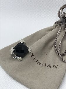 David Yurman Silver Cushion On Point 14 mm Black onyx & Diamond Ring Sz5