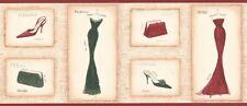 Glam Border TG2281B wallpaper dress handbag shoe red fashion prepasted