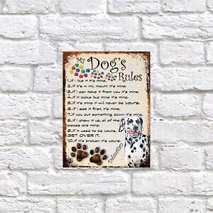 My dog's Rules Dalmation Theme Theme Tin metal sign, Novelty gift