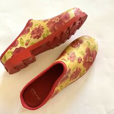 Laura Ashley Red Yellow Floral Garden rain Clogs Women Size 10.5