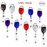 10pcs Carabiner Badge Holder Reels Belt Clip On Retractable ID Card Holders
