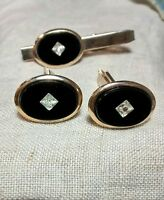 Vintage Black Onyx Diamond Cut Illusion Centers Goldtone Cufflinks and Tie Clip