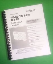 LASER 8.5X11 Olympus FE-280 X-820 C-520 Camera 68 Page Owners Manual Guide