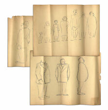 3 Al Capp Drawings Sheets Containing 11 Sketched Figures Comic Art