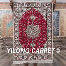 YILONG 2'x3' Classic Red Handmade Silk Rugs Hand-knotted Carpets Home Mat Y08C