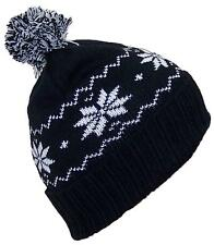 Angela & Williams Little Kids Cuffed Snowflake Pom Pom Beanie, Hat, #293 Black