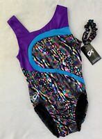 "New GK ELITE Gymnastics Leotard ""WILD ANIMAL"" Foil RAINBOW Purple Blue LEO Sz AL"