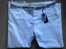 "BNWT M&S Per Una White Slim Leg Jeans Silver Belt Size 24 Medium Regular 30.5"""