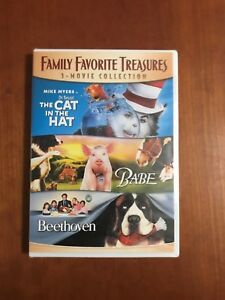 Family Favorite Treasures 3-Movies Cat In The Hat / Babe / Beethoven New/Sealed