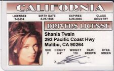 Country Music Singer Shania Twain novelty collectors card Drivers License