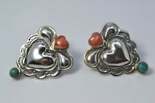 STERLING SILVER SOUTHWESTERN SPINY OYSTER TURQUOISE HEART POST EARRINGS
