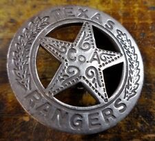 Texas Rangers Co. A Round Star Shaped Silver Plate Pinback Old West Style Badge