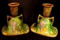 ROSEVILLE WISTERIA CANDLESTICKS *AMERICAN ART POTTERY* NICE PAIR!