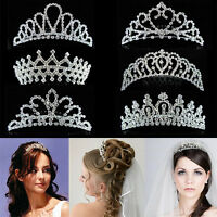 Bridal Bridesmaid Silver Crystal Diamante Tiara Wedding Party Prom Hair Comb NEW