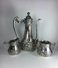 Antique 1891 George C. Shreve & Co Sterling Silver Chocolate Pot Sugar Cream Set