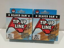 2 Spools 40lbs Beaver Dam Black Braid Tip-up Line 50yds Each!