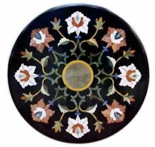"""12"""" black inlay stone corner center side marble table top mosaic"""