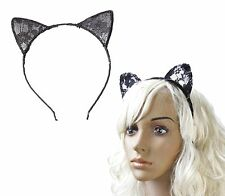 CAT EARS HEADBAND Black Lace Hair Head Band Fancy Dress Party Flower Alice Hoop