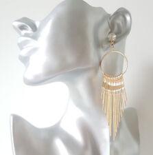 Stunning 11cm long GOLD tone & diamante - crystal waterfall drop earrings