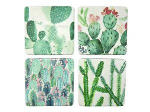 Cacti Drink Coasters Mats Cactus Plant Design Square Resin Cork Base Set of 4