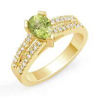 1.00Ct Peridot Pear Shape Round Diamond Wedding Engagement Ring 14k Gold Yellow