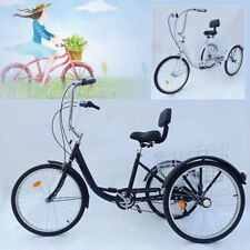 """Tricycle Adulte 24"""" 3 Roues 6 Vitesse Tricycle Adulte Bicycle Trike Cruise DE"""