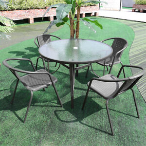 Garden Bistro Furniture Glass Top Coffee Dining Table Patio Outdoor Parasol Hole