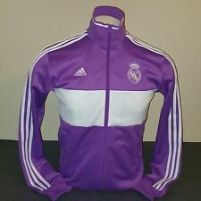 Adidas Real Madrid 3 Stripes Track Top, Purple/White, Size S