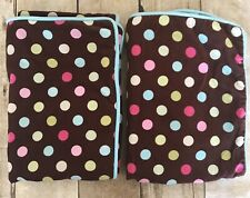Pottery Barn Teen COCO BROWN with POLKA DOTS Fine CORDUROY Standard PILLOW SHAMS