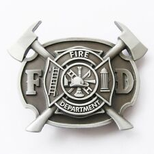 Fire Department FD Firefighter w/ Axes Belt Buckle