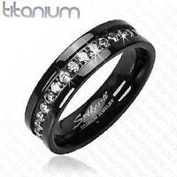 MENS SOLID BLACK TITANIUM CZ BAND RING WEDDING UK SELLER Eternity (J25)