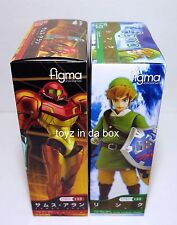 "In STOCK Figma ""Link"" (Legend of Zelda) + ""Samus"" (Metroid) Action Figure SET"
