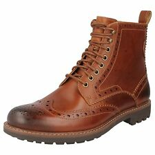 Clarks Mens Casual Montacute Lord Leather BOOTS in Dark Tan 8 G 203517907080