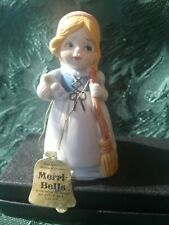 Vtg 1978 Merri-Bells Bisque Porcelain Girl Bell holding Broom & Shoe by Jasco