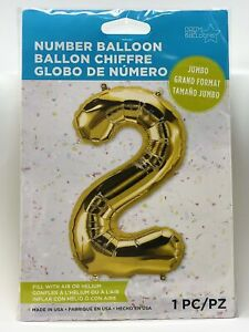 "34"" Gold Foil Jumbo Mylar Nylon Balloon Number 2 Party Decoration"