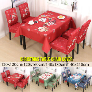 Christmas Dining Stretch Chair Cover Tablecloth Santa Xmas Slip Cover Table